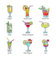 cocktails in glasses exotic drinks sketch vector image