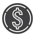 coin dollar glyph icon business and finance vector image vector image
