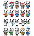 cute panda cartoon mascot pack vector image vector image