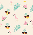cute pink flamingo tropical pattern vector image vector image