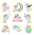 Cute Unicorn Cartoon Set vector image vector image