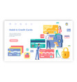 debit and credit card people with banking system vector image vector image
