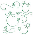 designer calligraphic elements green leaf icons vector image