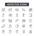 detective line icons signs set outline vector image vector image