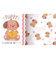 dog tedy puppy - seamless pattern vector image