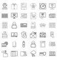 ebook icons set outline style vector image vector image