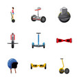 electric scooter icons set cartoon style vector image
