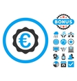 Euro Award Stamp Flat Icon with Bonus vector image vector image