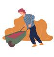farming man harvesting in autumn wheelbarrow with vector image vector image