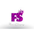 fs f s dots letter logo with purple bubbles vector image vector image