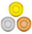 gold silver bronze medals badges vector image