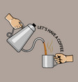 hand pouring coffee vector image vector image