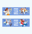 happy people jumping woman or man character vector image