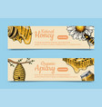 honey waxing bee and beehive flyer poster organic vector image