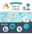 Horizontal banners with school and education icons vector image vector image