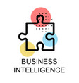 jigsaw icon for business intelligence on white vector image vector image
