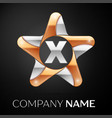 letter x logo symbol in the colorful star on black vector image vector image