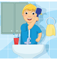 Little Boy Brushing Hair vector image vector image