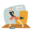 man stretching at home fitness and exercises vector image