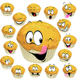 muffin cartoon with many expression isolated on vector image