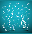 musical notes on blue background vector image