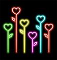Neon hearts flowers vector image vector image