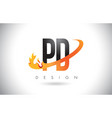 pd p d letter logo with fire flames design and vector image vector image