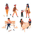 people outdoor isolated characters walking and vector image