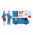 postman characters postal mailman woman man in vector image