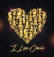 print with golden chess pieces of heart design i vector image vector image