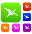 pterosaurs dinosaur set color collection vector image vector image