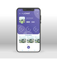purple chat profile ui ux gui screen for mobile vector image vector image