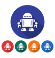 round icon of robot flat style with long shadow vector image vector image