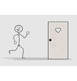 running man and door with heart vector image vector image