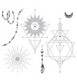 set black and white mystical elements vector image