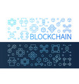 set of 2 blockchain bright line horizontal vector image