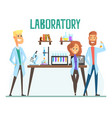 smiling scientists man and woman working in a lab vector image vector image