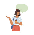 smiling woman with coffee chat dialogue bubble vector image vector image