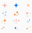 sparkle stars color glowing light effect signs vector image vector image