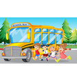 Students and school bus on the road vector image vector image