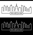 warsaw skyline linear style editable file vector image vector image