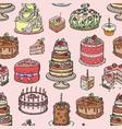 wedding cake pie hand drawn style sweets dessert vector image vector image