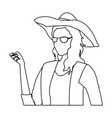 woman clothing fashionable with hat and glasses vector image