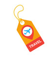 travel tag with plane template isolated on white vector image