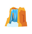 colorful rocky mountain and beautiful waterfall vector image