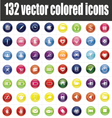132 colored icons vector image