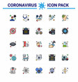 25 flat color filled line viral virus corona icon vector image vector image