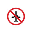 airplane sign in red color vector image vector image