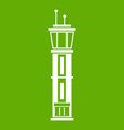 airport control tower icon green vector image vector image