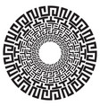 ancient greek round meander key black and white vector image vector image